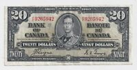 1937 $20 Bank of Canada Coyne Towers K/E 9265942  - F/VF