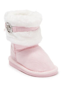 Bebe Girls Toddler Size 6 Light Pink Microsuede Pull-On Faux Fur Trimmed Boots