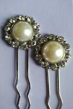 Half Pearl Rhinestone Hair Pins Set Of 2 Handmade On Silver Tone