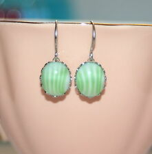 Vintage Lime green candy stripe glass Cabochon bridesmaid artisan earrings