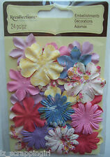 SPRING FLOWERS Recollections 24 pc. Embellishments; PINK YELLOW LAVENDER FLORALS