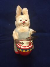 Vintage Wind Up Cloth Covered Tin Bunny One Man Band