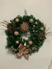 "Holiday Green Rose Gold Christmas Star Bulbs Bow Ornament Wreath 23"" Artificial"
