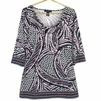 White House Black Market Womens Size Small S 3/4 Sleeve Drape Neck Tunic Top