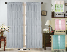 SOLID SOFT MULTILAYERS VOILE SHEER FABRIC WINDOW CURTAIN RUFFLE PANEL 1PC GYPSY