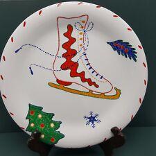 "Ice Skate Christmas Holiday Plate Crate Barrel Julia Bullmore Salad 8"" Nordic"