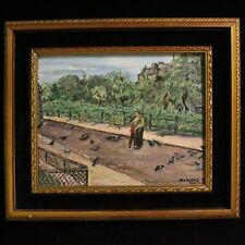 Vintage Amateur Outsider Painting Couple Man Woman Park Antique Style Gold Frame