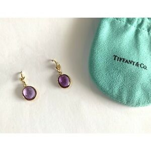 Tiffany & Co. 18k Yellow Gold Paloma Picasso Amethyst Olive leaf Drop Earrings