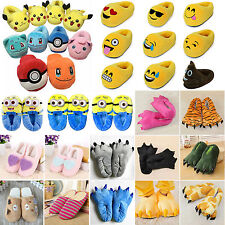 Emoji Pokemon Plush Stuffed Adult Kid Home Slippers Cartoon Indoor Slipper Shoes