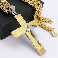 Mens Gold Silver Stainless Steel Pendant Necklace Byzantine Link Chain 18-36inch