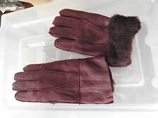dark red ladies women 100% genuine real leather sheepskin gloves mittens