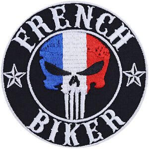 Aufnäher: French Biker Aufbügler Motorrad-Jacken Patch Rocker Applikation