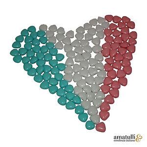 1Kg = 690 Hochzeitsmandeln / Schokoherzen Weiß / Rosa / Blau Confetti Italien
