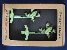 Ancient Graffiti Set of 2 Brass Frog Hooks ~ New in Box