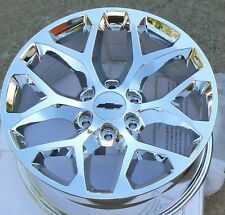 """ck156 New Chrome Snowflake 22"""" Chevy Tahoe Silverado Suburban LTZ Wheels"""