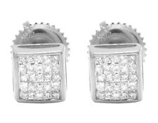 Mens Ladies 14k White Gold Real Princess Diamond Square Stud Earrings .33ct 5mm