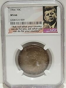 1964 Kennedy Half Dollar NGC MS66 Monster 2 Sided Toning