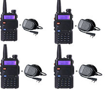 4 Pack BaoFeng UV-5R ham 2 way radio WalkieTalkie + Baofeng PTT Speaker Mic
