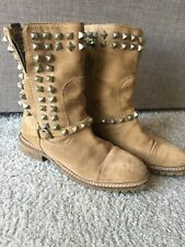 Zara ladies studded tan ankle boots size 39