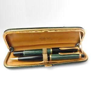 VINTAGE PELIKAN Dark Green Leather Case for 2 pens GERMANY 1950s