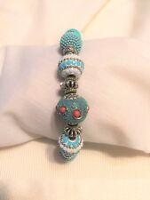"Bracelet Teal & White Assorted Beads Adj. 7"" to 8"""