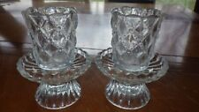 Party Lite quilted candle votive crystal set Candle Stick holders P9246 orig box