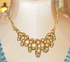 VINTAGE WONDERFUL CAROLEE LUX CHUNKY BRUSED GOLD TONE NECKLACE
