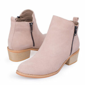 SheSole Womens Ankle Boots Real Leather Suede Zip Booties Stacked Heel Comfort