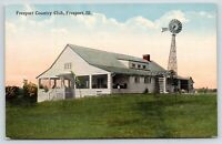 Freeport Illinois~Freeport Country Club~Windmill Behind Club House~c1910