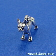 .925 Sterling Silver BOSTON TERRIER Dog CHARM PENDANT *NEW*