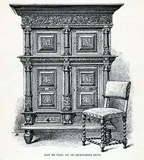 Antique print Dutch furniture / chair / cupboard Netherlands