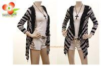 Designer Black White Stripe Lace Jersey asymmetric Sweater Cardigan Top S M L XL