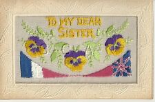 WWI French Silk Embroidered PC- US- UK- Shield- Banner- Flower- 1914-1918