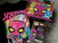 Funko Pop Blacklight: Spiderman Pop & Tee L T-shirt Collectors Box Vinyl Figure