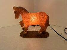 Brown Horse - Night Light Lamp - Melted Plastic Popcorn - Amber and Brown