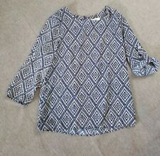 stitch fix freeway navy tan blouse size small graphic aztec tribal print career