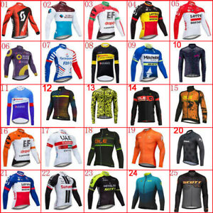 Mens Team Cycling Long Sleeve Jersey Bike Shirts Bicycle Tops Racing Uniform