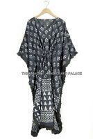 Anokhi, Vintage Indien Main Bloc Imprimé Coton Caftan Robe Maxi Longue Gris