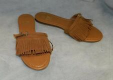 BETANI NWT Tan Slip-On Buckled Strap Fringe Casual Flat Sandal Shoes sz 8.5