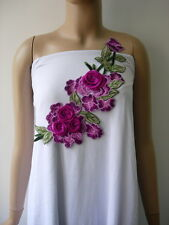VT446 Purple-Tone Flower Blooms Embroidered Venise Applique Embellished Motif