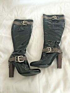 SACHI Size 6 Black Leather Long Zip Up Boots