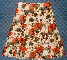 CHRISTOPHER & BANKS - CORAL & GRAY FLORAL CHIFFON SWING SKIRT - MISSES 4