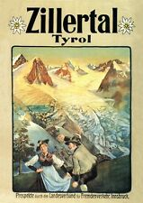 Zillertal tyrol tirol INNSBRUCK Affiche de 1909 fac-similé K & K 10 sur papier papier