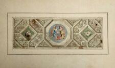 Dessin d'architecture ancien, Encre, Lavis, Aquarelle, Relevé d'un plafond, XIXe