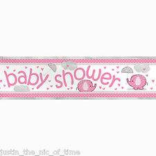 PINK UMBRELLAPHANTS Girl Baby Shower Party Banners Decorations 12ft FOIL BANNER