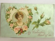 PostCard My Valentine Think of Me Floral Greeting Germany Posted Used 2/1910