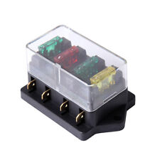 4 Way Fuse Blade Holder Box Block w/ 10A 20A 30A Fuse Cover 12/24V