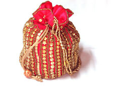 Indian Bridal Wedding Purse Sequin Evening Party Potli Bag Clutch Prom RED Satin