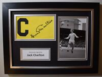 Jack Charlton SIGNED FRAMED Captains Armband Autograph Photo Display Leeds COA