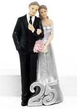 Nozze d'argento 25 Anni matrimonio Cake Topper bomboniera in resina cm.18,50